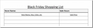 Free Printable:  Black Friday Shopping List