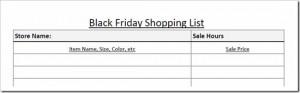 Free Printable:  Black Friday Shopping List