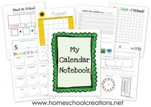 FREE:  Kids Calendar Notebook Printables #hsbloggers
