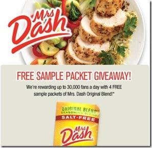 FREE:  Mrs Dash Seasoning Sample Packets