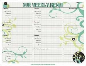 Menu Plan Monday:  Free Printable Menu