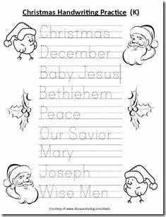 Free Kindergarten Christmas Handwriting Worksheet ...