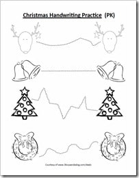 Free Christmas Handwriting and Coloring Page for Preschool #homeschooling