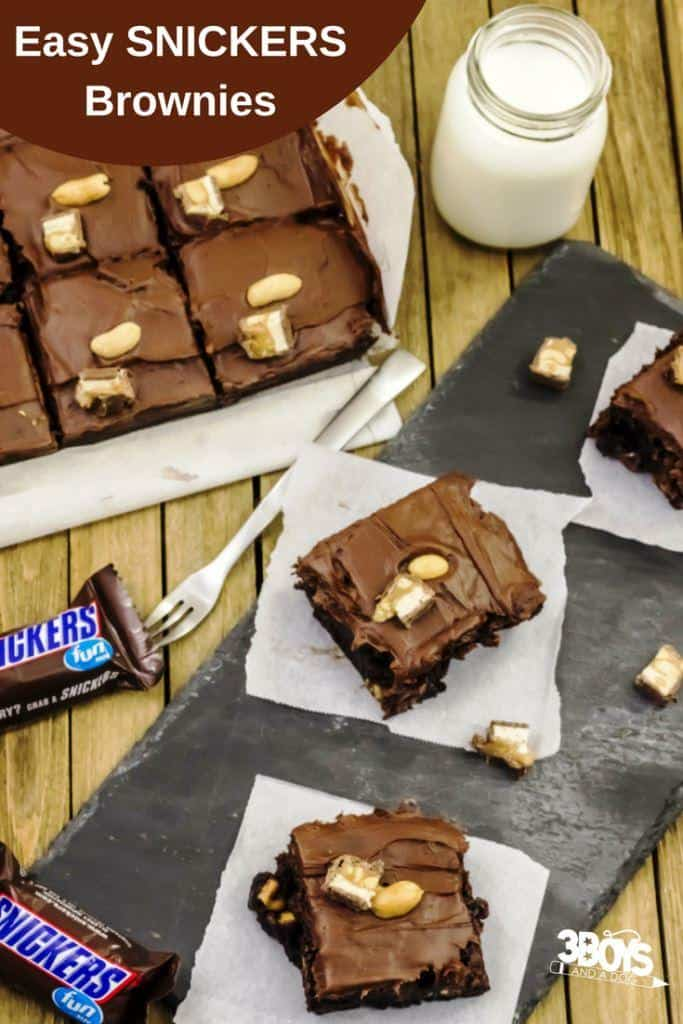 Easy SNICKERS Brownies from boxed mix
