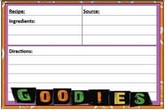 #Free Printable Halloween 4 x 6 Recipe Card