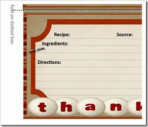 Free Printable:  Thanksgiving Recipe Card