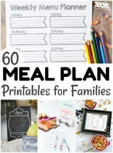 60 Printable Menu Plans for Families