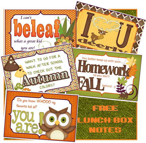 Free Printable Fall/Autumn Themed Lunchbox Notes for Kids