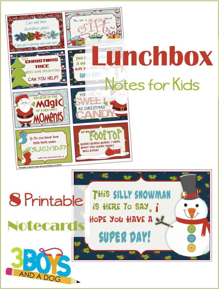 Christmas Printable lunchbox notes for Kids