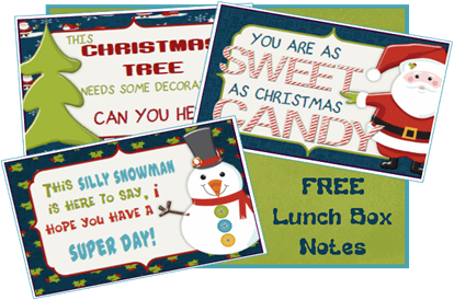 Free printable Christmas lunch box notecards