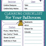 Printable Bathroom Cleaning Checklist to add to your homemaker handbook