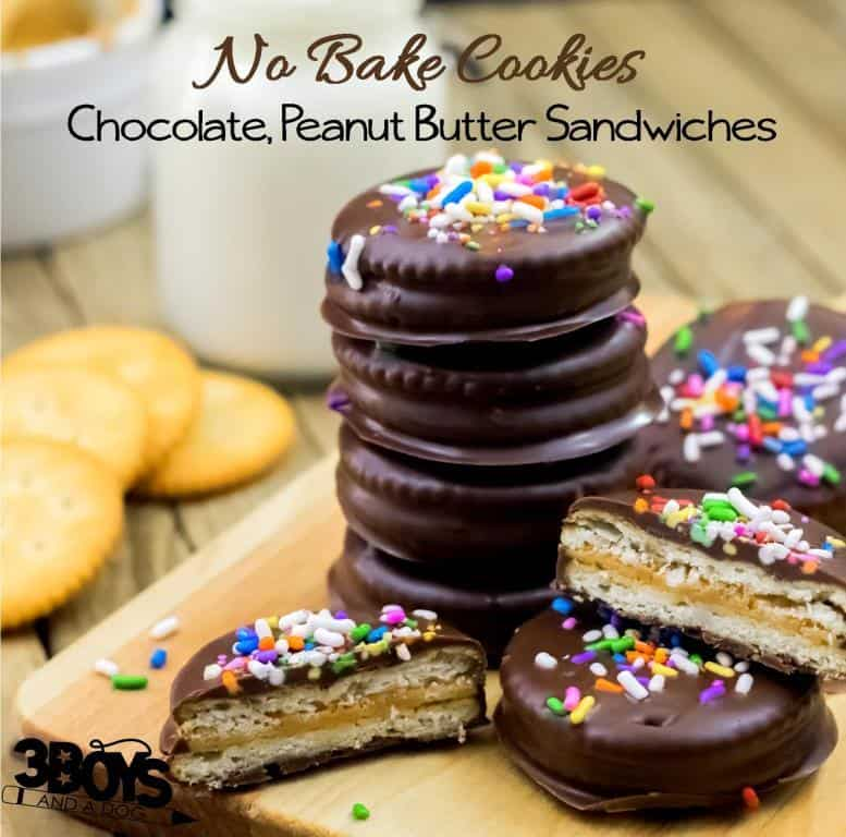 No Bake Chocolate Peanut Butter Sandwich Cookies – 3 Boys and a Dog