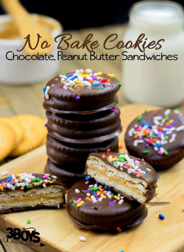 No Bake Chocolate Peanut Butter Sandwich Cookies
