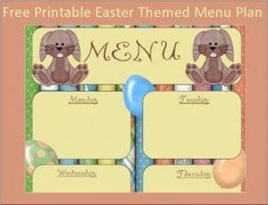 Menu Plan Monday:  Easter Bunny Printable Menu Plan