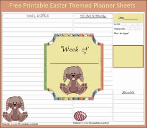 Menu Plan Monday:  Free Printable Bunny Planner Sheets