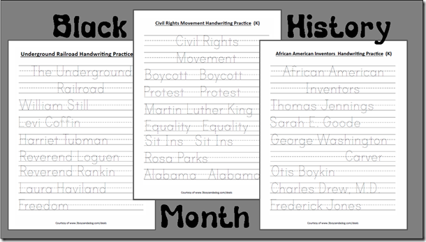 Kindergarten Handwriting Practice Worksheets for Black History Month
