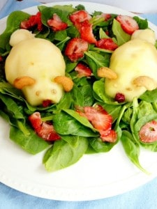 Easter Pear Spinach Salad - with Bunnies