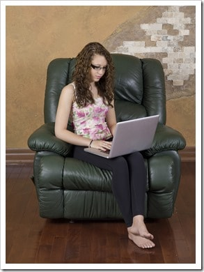 gorgeous young lady using a laptop
