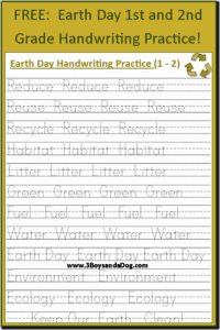 Earth Day Print Handwriting Worksheets