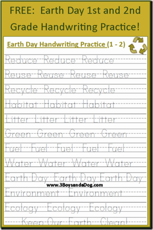 free earth day handwriting printables grades 1 and 2 3 boys and a dog. Black Bedroom Furniture Sets. Home Design Ideas