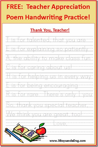 Teacher Appreciation Poem Handwriting