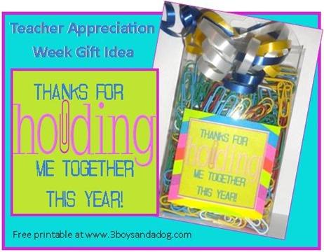 Teacher Appreciation Printable Paper Clip Idea