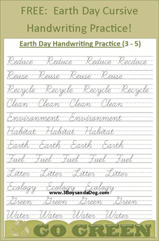 Free Earth Day Cursive Handwriting Printables 3 Boys And A Dog