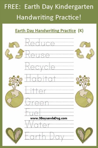 Earth Day Handwrting Printable