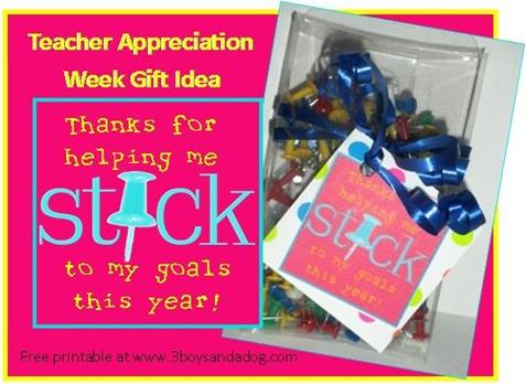 teacher appreciation printable push pin idea