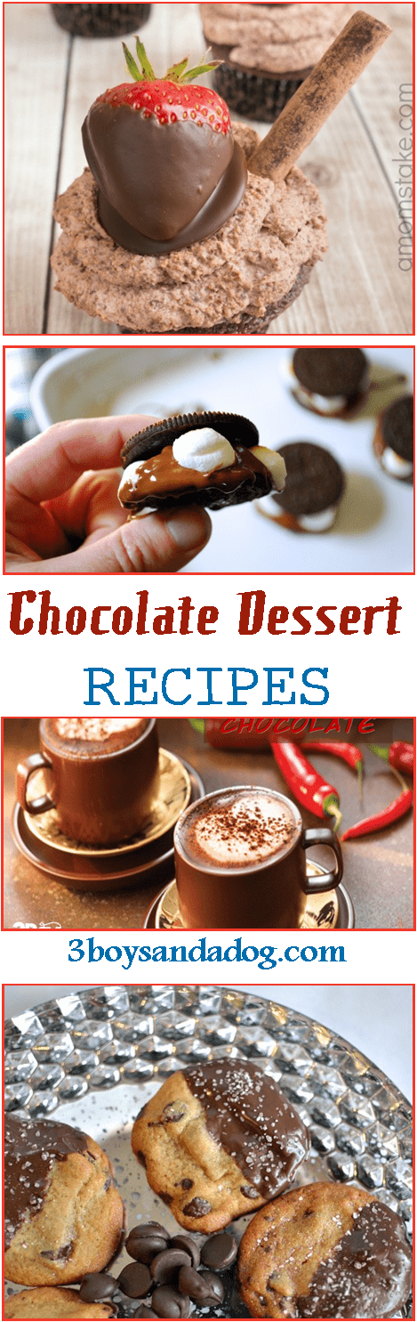 If you love chocolate then these chocolate dessert recipes are definitely for you!  You'll find a bit of everything with a  range from brownies to hot chocolate and all of them contain our favorite ingredient – Chocolate!