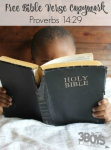FREE Printable Proverbs 14:29 Bible Verse