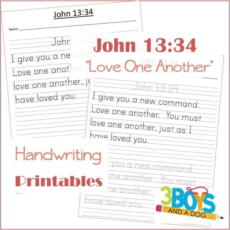 I give you a new command. Love One Another free printable handwriting sheets