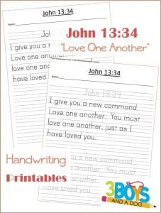 Love One Another Handwriting Worksheets