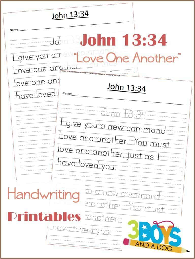 photograph relating to Free Printable Bible Verses Handwriting named Totally free Printable Bible Verses: John 13:34 3 Boys and a Doggy