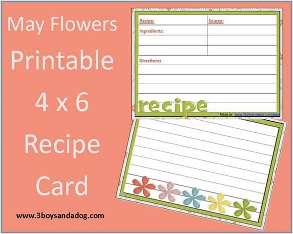 May Flowers Free Printable Recipe Card