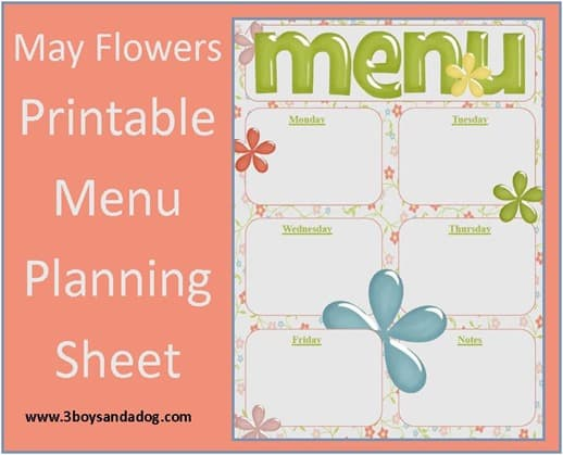 May Flowers free menu planning sheet