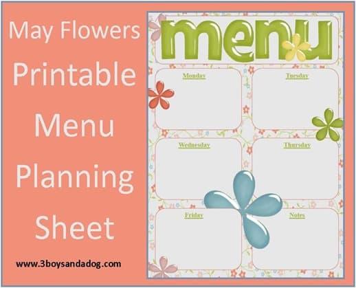 May Flowers free menu planning sheet