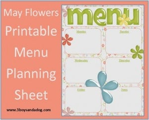 May Flowers:  Free Printable Menu Planning Sheet (Menu Plan Monday)