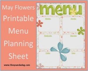 May Flowers:  Free Printable Menu Planning Sheet (Menu Plan Monday)