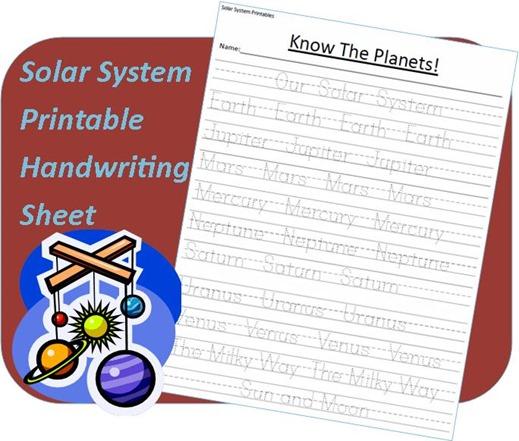 Solar System Printables _ handwriting worksheet