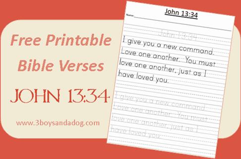 John 13:34 Free Printable Handwriting Worksheets