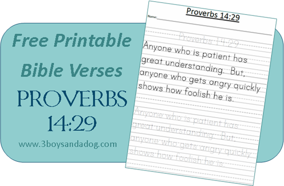 Printable Proverbs 14:29 Bible Verse