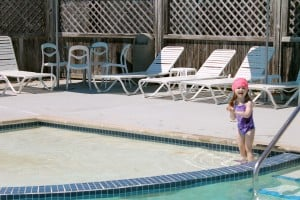 My daughter in the pool.
