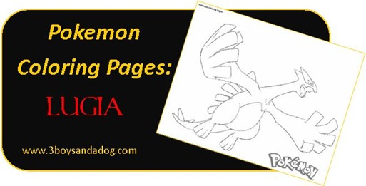 Lugia Pokemon Coloring Pages for Boys