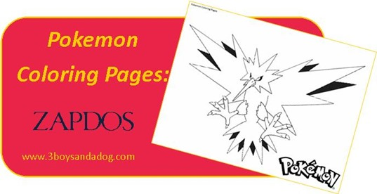 Zapdos Pokemon Coloring Pages for Boys