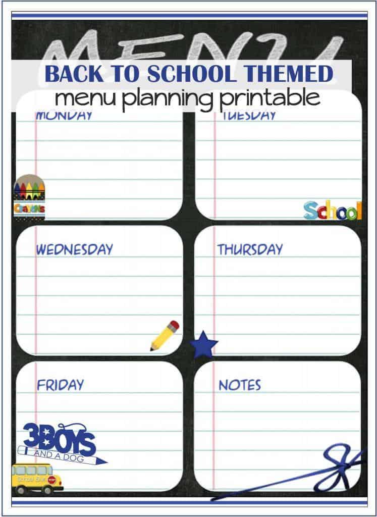 Back to School Menu Planning Printable