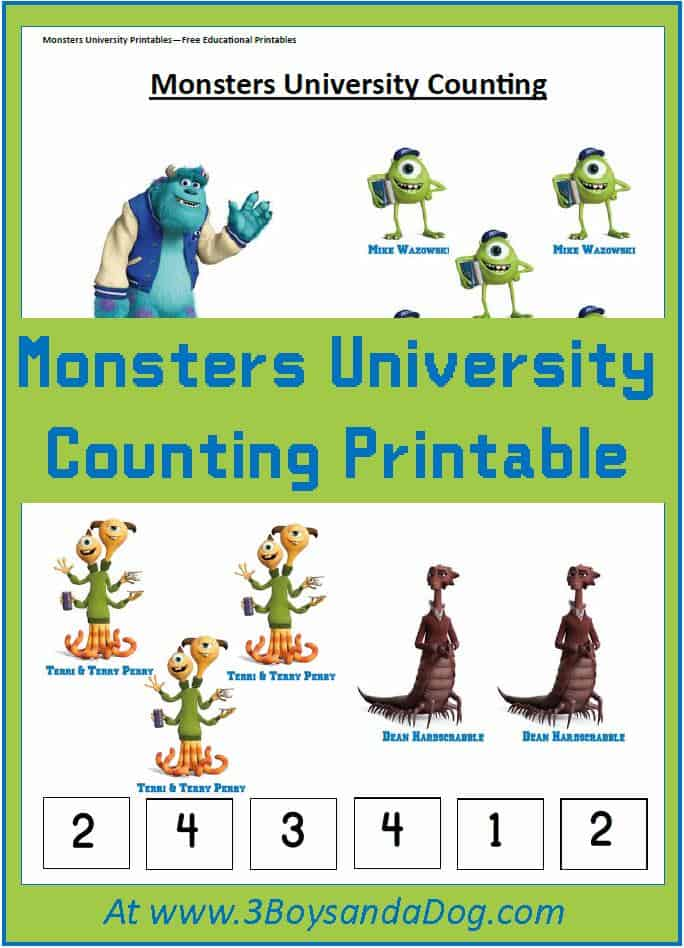 Monsters University Printable Counting