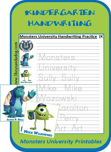 Monsters University Printable K Handwriting