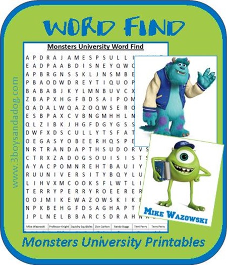 Monsters University Printables: Word Find – 3 Boys and a Dog