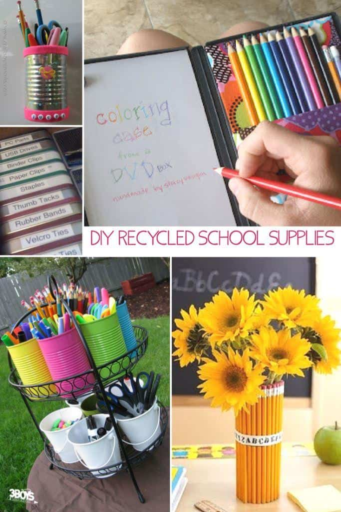 recycled school materials - diy school supplies - organizers